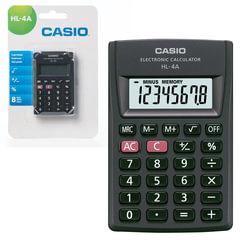 Калькулятор CASIO карманный HL-4A-S, 8 разрядов, питание от батарейки, 87×56×8,8 мм, блистер, черный