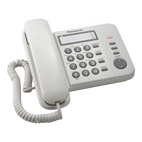 Телефон PANASONIC KX-TS2352RUW, белый, память 3 номера, повторный набор, тональный/импульсный режим, индикатор вызова