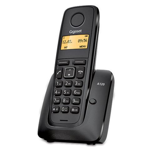Радиотелефон GIGASET A120, память на 40 номеров, АОН, повтор, часы, радиус 10-100 м, цвет черный