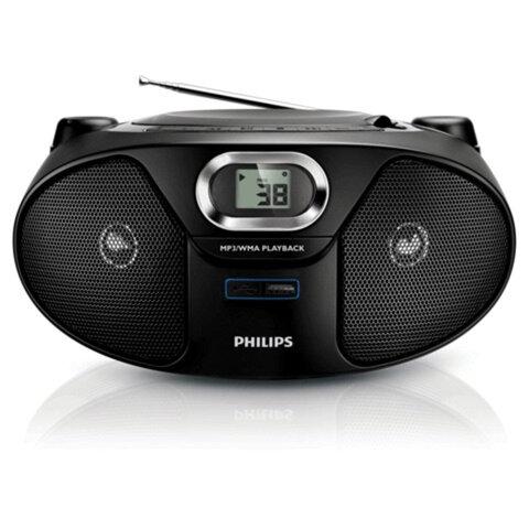 Магнитола PHILIPS AZ385/<wbr/>12, с CD/<wbr/>MP3-плеером, выходная мощность 2 Вт, ЖК-дисплей, USB, FM-тюнер, черная