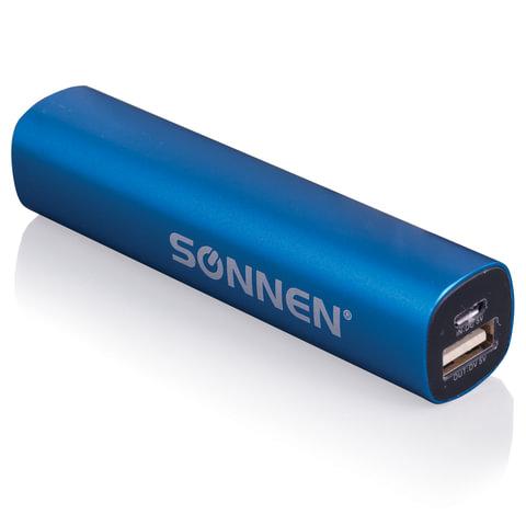 Аккумулятор внешний универсальный SONNEN PB-2200, емкость 2200 мАч, выходной ток 1А, синий