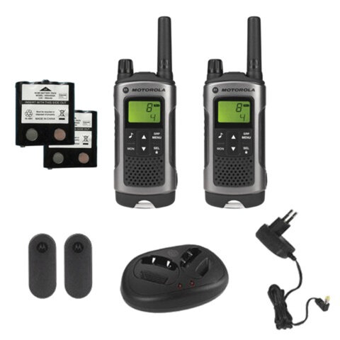 Радиостанция MOTOROLA T80, до 10 км, шумоподавление, 8 каналов, брызгозащита, зарядное устройство в комплекте, комплект 2 шт.