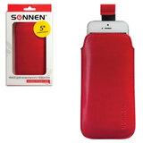 Чехол для телефона SONNEN, кожзаменитель, XL, 145×78×10 мм, универсальный, красный