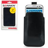 Чехол для телефона SONNEN, кожзаменитель, L, 135×72×10 мм, универсальный, черный