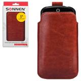 Чехол для телефона SONNEN, кожзаменитель, L, 135×72×10 мм, универсальный, коричневый