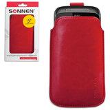 Чехол для телефона SONNEN, кожзаменитель, L, 135×72×10 мм, универсальный, красный