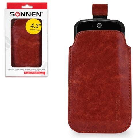 Чехол для телефона SONNEN, кожзаменитель, M, 130×70×10 мм, универсальный, коричневый