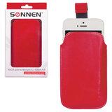 Чехол для телефона SONNEN, кожзаменитель, M, 130×70×10 мм, универсальный, красный