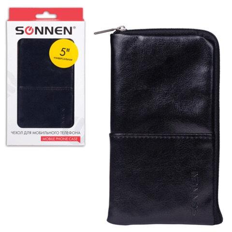 Сумочка для телефона SONNEN на молнии, кожзаменитель, 135×70×10 мм, универсальная, черная