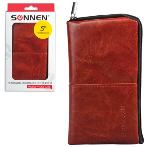 Сумочка для телефона SONNEN на молнии, кожзаменитель, 135×70×10 мм, универсальная, коричневая