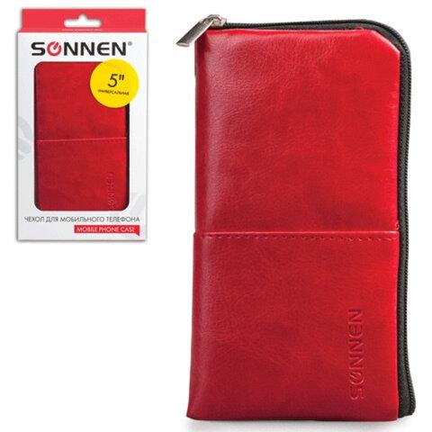 Сумочка для телефона SONNEN на молнии, кожзаменитель, 135×70×10 мм, универсальная, красная