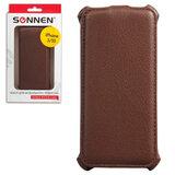 Чехол-обложка для телефона iPhone 5/<wbr/>5S SONNEN, кожзаменитель, вертикальный, коричневый