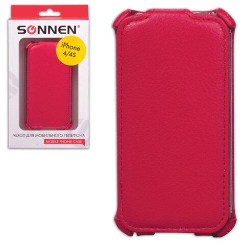 Чехол-обложка для телефона iPhone 4/<wbr/>4S SONNEN, кожзаменитель, вертикальный, красный