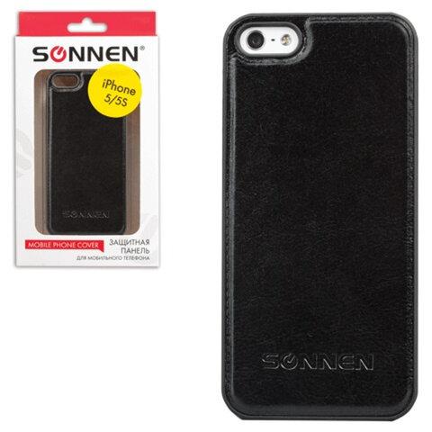 Защитная панель для iPhone 5/<wbr/>5S SONNEN, пластик/<wbr/>кожзаменитель, черная