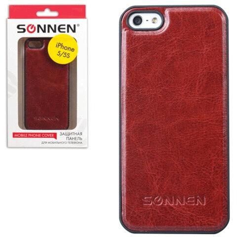 Защитная панель для iPhone 5/<wbr/>5S SONNEN, пластик/<wbr/>кожзаменитель, коричневая
