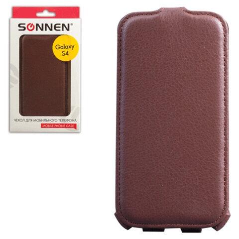 Чехол-обложка для телефона Samsung Galaxy S4 SONNEN, кожзаменитель, вертикальный, коричневый