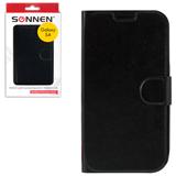 Чехол-обложка для телефона Samsung Galaxy S4 SONNEN, кожзаменитель, горизонтальный, черный