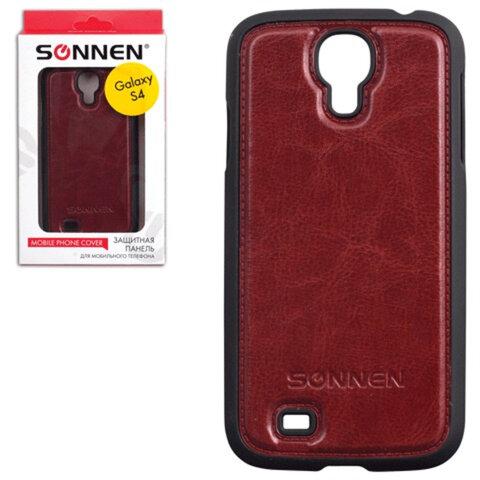 Защитная панель для Samsung Galaxy S4 SONNEN, пластик/<wbr/>кожзаменитель, коричневая