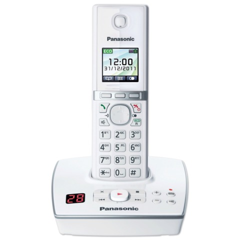 Радиотелефон PANASONIC KX-TG8061RUW, память 200 номеров, АОН, повтор, спикерфон, полифония, 10-100 метров, цвет белый