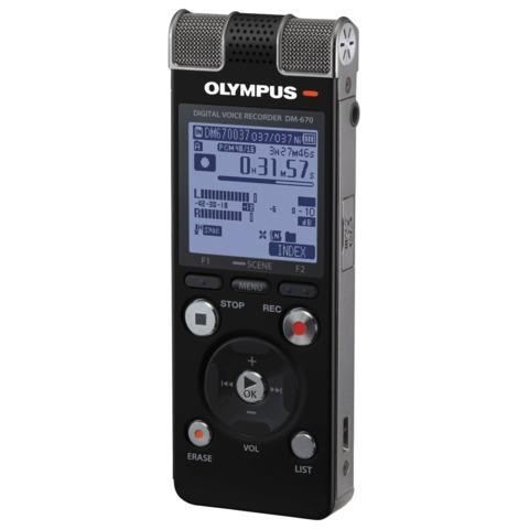 Диктофон OLYMPUS DM-670, 8 Gb, Linear PCM, WAV/<wbr/>MP3/<wbr/>WMA, время записи 2007 ч, черный