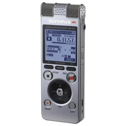 Диктофон OLYMPUS DM-650 4Gb Linear PCM, WAV/<wbr/>MP3/<wbr/>WMA, время записи 1026 ч, серебристый