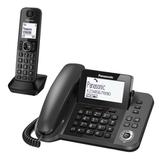 Радиотелефон PANASONIC KX-TGF310RUM + дополнительный проводной телефон, память на 100 ном, ЖК-диспл, АОН, повтор, спикерфон, серый