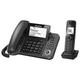 Радиотелефон PANASONIC KX-TGF320RUM + дополнительный проводной телефон, память на 100 ном, ЖК-диспл, АОН, повтор, спикерфон, серый