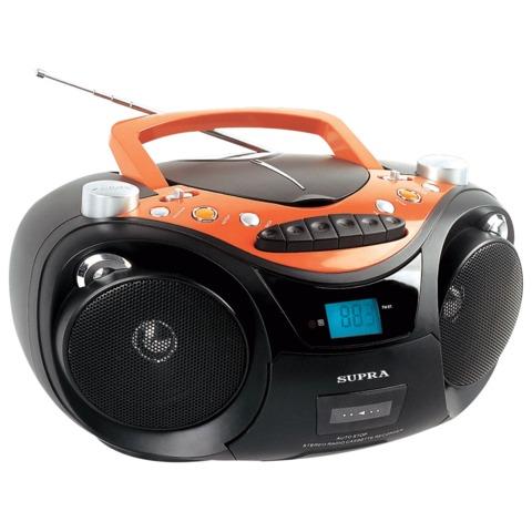 Магнитола SUPRA SR-CD125U, CD, MP3, кассетная дека, USB, AM/<wbr/>FM-тюнер, выходная мощность 6 Вт, цвет черный/<wbr/>оранжевый