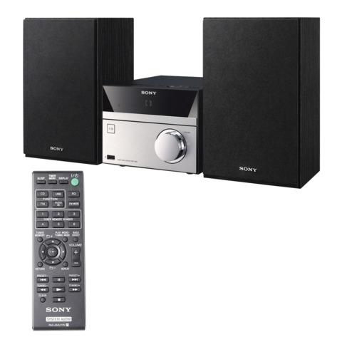 Музыкальный центр SONY CMT-S20, CD, MP3, WMA, USB, AM/<wbr/>FM-тюнер, выходная мощность 10 Вт, черный/<wbr/>серебристый