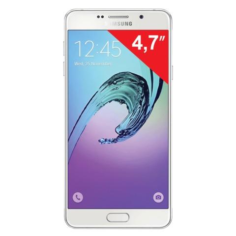 "Смартфон SAMSUNG Galaxy A3, 2 SIM, 4,7"", 4G (LTE), 5/<wbr/>8 Мп, 16 Гб, microSD, белый, сталь и стекло"