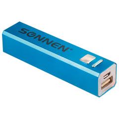 Аккумулятор внешний SONNEN POWERBANK V61С, 2600 mAh, литий-ионный, синий, алюминиевый
