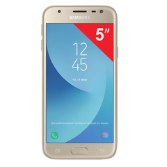 "Смартфон SAMSUNG Galaxy J3, 2 SIM, 5"", 4G (LTE), 5/<wbr/>13 Мп, 16 ГБ, microSD, золотой, металл и стекло (2017)"