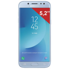 "Смартфон SAMSUNG Galaxy J5, 2 SIM, 5,2"", 4G (LTE), 13/<wbr/>13 Мп, 16 ГБ, microSD, голубой, металл и стекло (2017)"