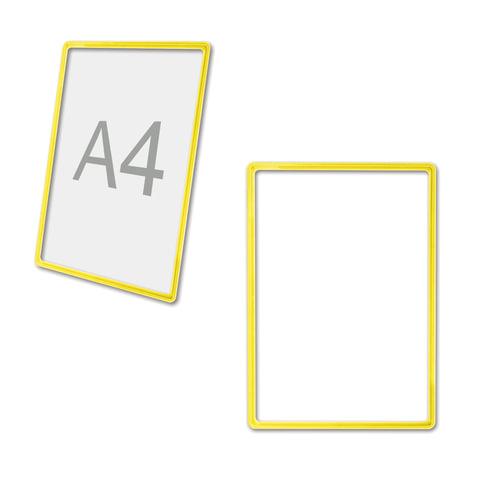 Рамка POS для ценников, рекламы и объявлений А4, желтая, без защитного экрана