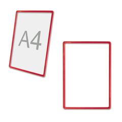Рамка POS для ценников, рекламы и объявлений А4, красная, без защитного экрана