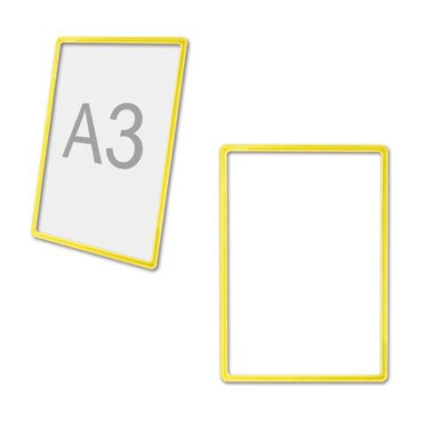 Рамка-POS для ценников, рекламы и объявлений А3, желтая, без защитного экрана