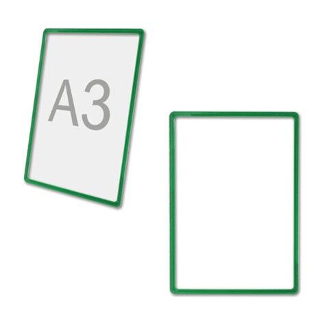 Рамка-POS для ценников, рекламы и объявлений А3, зеленая, без защитного экрана