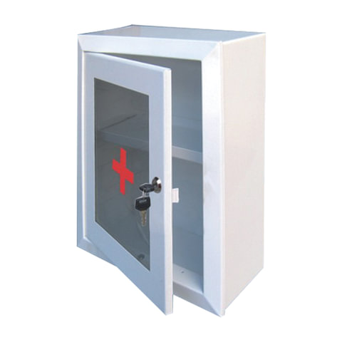 Шкафчик-аптечка металлический, навесной, 1 полка, ключевой замок, стекло, 330×280×140 мм