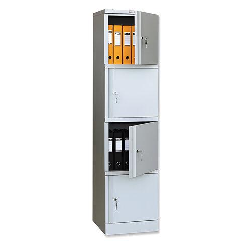 """Шкаф металлический офисный ПРАКТИК """"AM-1845/4"""", 1830х472х458 мм 4 отделения, 29 кг, разборный"""