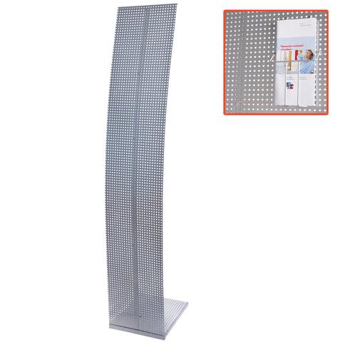 Стойка для рекламных материалов напольная, без лотков, ПАРУС-1, 1600х300х360 мм, хром
