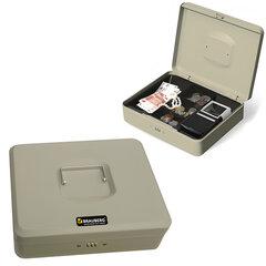 Ящик для денег, ценностей, документов, печатей BRAUBERG, 90×240×300 мм, кодовый замок, светло-серый «металлик»