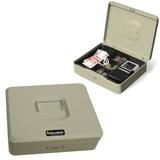 Ящик для денег, ценностей, документов, печатей BRAUBERG (БРАУБЕРГ), 90×240×300 мм, кодовый замок, светло-серый «металлик»