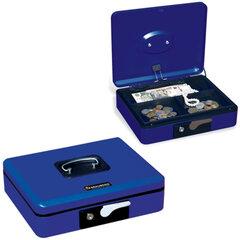 Ящик для денег, ценностей, документов, печатей BRAUBERG, 90×240×300 мм, с ключевым замком, темно-синий