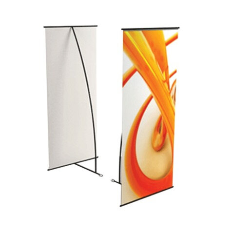 """Стенд мобильный для баннера, """"L-banner А1"""", размер рекламного поля 800х1800 мм, углепластик/алюминий"""