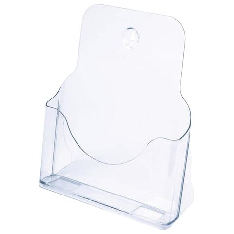 Подставка для рекламных материалов СТАММ настольная/настенная горизонтальная, формат А4, 235х98х270 мм, прозрачная