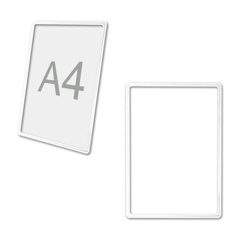 Рамка POS для ценников, рекламы и объявлений А4, белая, без защитного экрана