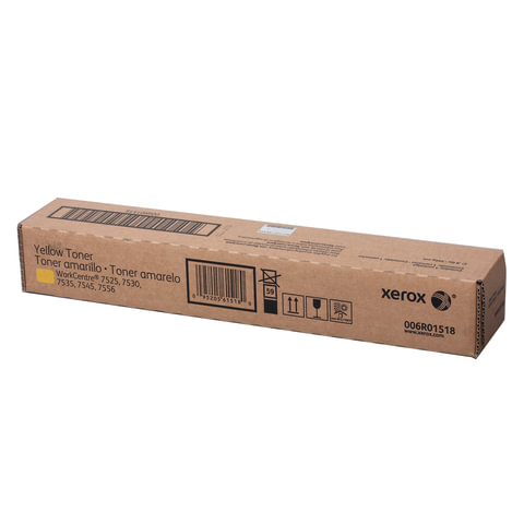 Тонер-картридж XEROX (006R01518) WC 7545/7556 и другие, желтый, оригинальный, ресурс 15000 стр.