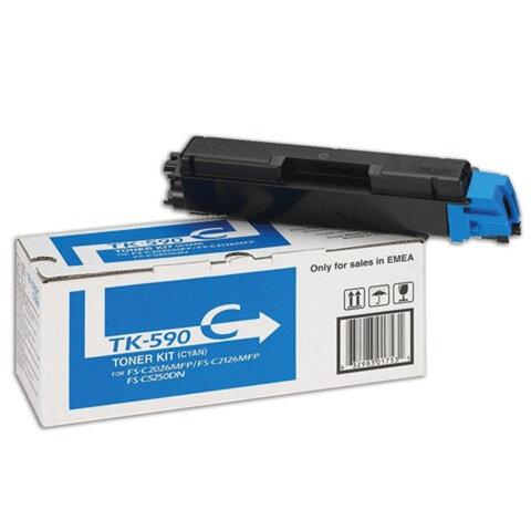 Тонер-картридж KYOCERA (TK-590C) FS-C2026MFP/C2126MFP/C2626MFP и другие, голубой, оригинальный, ресурс 5000 страниц