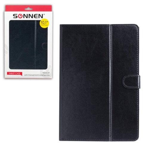 """Чехол-обложка для планшетного ПК универсальный 10,1"""" SONNEN, кожзаменитель, 275×190×25 мм, черный"""