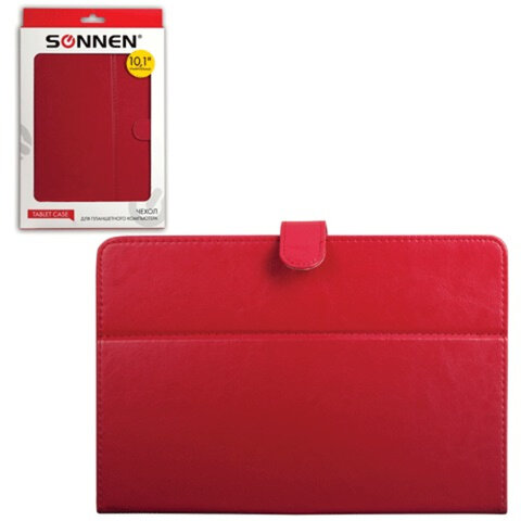"""Чехол-обложка для планшетного ПК универсальный 10,1"""" SONNEN, кожзаменитель, 275×190×25 мм, красный"""